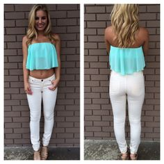 Mint Itsy Bitsy Crop Top on Wanelo