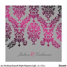 311-Dashing Damask Night Magenta Light Gray Invitation