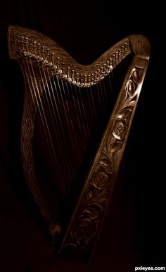 Celtic Harp picture, by TwilightMuse for: instruments photography contest Sound Of Music, Music Is Life, House Music, The Magic Faraway Tree, Celtic Music, Photography Contests, Photography Music, Black Backgrounds, Black And Brown
