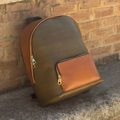 The Luxury Backpack in Cognac and Olive Painted Calf Leather - Robert August Apparel Calf Leather, Leather Bag, High Quality Backpacks, Custom Design Shoes, Waterproof Backpack, Girl Backpacks, Travel Backpack, Designer Shoes, Leather Backpack