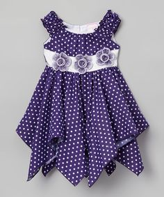 Look what I found on #zulily! Dark Purple Polka Dot Floral Handkerchief Dress - Toddler & Girls #zulilyfinds