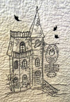 """close up, Halloween Quilt by Phyllis Day.  Here is the """"Black Cauldron"""" restaurant block.  Pattern: Crabapple Hill Studio."""