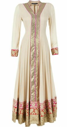 Aneesh Agarwaal presents Beige 3 borders kurta set available only at Pernia's Pop-Up Shop Kurta Designs, Blouse Designs, Hijab Fashion 2016, Fashion Dresses, Indian Attire, Indian Wear, Pakistani Outfits, Indian Outfits, Mode Bollywood