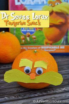 Dr Seuss Lorax healthy Tangerine Snacks. So much fun!