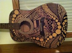 zentangle  art on guitar. // when josh is brave enough to let me at his guitar, let me know!!  :o). xoxoxoxoxo