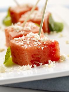 Watermelon feta bites. | 14 Appetizers That You Can Make In 14 Minutes