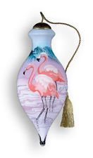 PINK FLAMINGO Ornament Ne' Qwa Art Reverse Painted Glass New Christmas