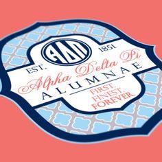 Alpha Delta Pi - ADPi Alumnae Design - ADPi - V-neck - Sorority T-shirts - Check out b-unlimited.com! Alpha Omicron Pi, Alpha Sigma Alpha, Sorority Life, Sorority Shirts, Cheer Snacks, 10 Year Reunion, Senior Shirts, Greek Shirts, Team T Shirts