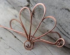 Hair slide hair barrette copper Double Infinity by Keepandcherish