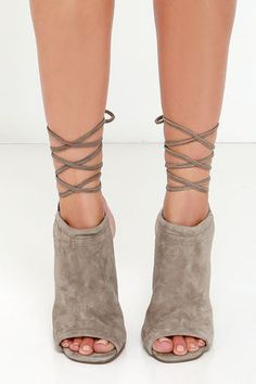Steve Madden Sophie Taupe Suede Leather Leg Wrap Heels at Lulus.com!