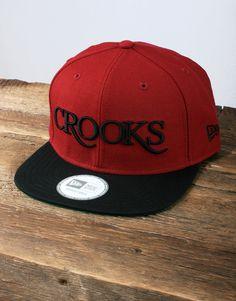 39e984f814d02 Crooks and Castles Serif Logo Snapback - Burgundy Black Plains Background