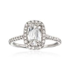Ross-Simons - Henri Daussi 1.42 ct. t.w. Certified Diamond Engagement Ring in 18kt White Gold - #817954