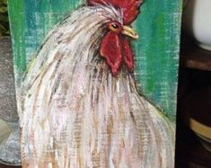 farmhouse rooster decor, rooster painting, rooster kitchen, chicken coop decor, rustic rooster, country chic decor, country decor, farm art