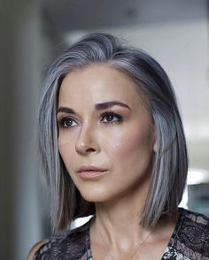 Blue Grey Hair, Silver White Hair, Long Gray Hair, Grey Hair Looks, Grey Hair Model, Grey Hair Transformation, Silver Hair Highlights, Grey Hair Inspiration, Gray Hair Growing Out