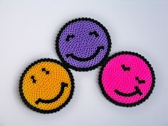 pixel bead 3 pcs faces coasters.. hama bead. $9.00, via Etsy.