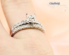 Clayfield Jewellery - princess cut engagement ring with matching band. Find @clayfieldjewellery in Nundah Village, North Brisbane