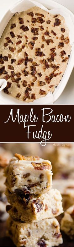 this Maple Bacon fudge recipe is full of maple flavor and chuncks of candied bacon - a huge favorite for any maple bacon lover (sweet tooth chocolate) Maple Bacon Fudge Recipe, Fudge Recipes, Candy Recipes, Sweet Recipes, Baking Recipes, Dessert Recipes, Maple Fudge, Blender Recipes, Frosting Recipes