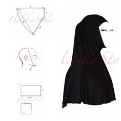 This is very popular hijab type. Very comfortable for young muslimah or for active sisters. We will sew now al-Amira hijab - 2 pie. Muslim Fashion, Modest Fashion, Hijab Fashion, Fashion Outfits, Clothing Patterns, Dress Patterns, Sewing Patterns, Al Amira, Abaya Pattern