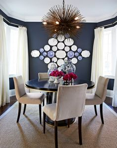 Marcus Design: {dining room before & after + plate display}. Dark blue-gray wall color with light everything else for balance. For the dining room wall? Dining Room Blue, Dining Room Design, Dining Rooms, Dining Tables, Dining Area, Plate Wall Decor, Plates On Wall, Grey Wall Color, Navy Color