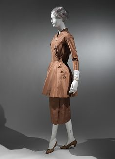 Ca 1954 ensemble by Charles James. James produced some of the most memorable garments ever made. He began his design career in the 1930s. It peaked between the late 1940s and mid- 1950s, when his scarce and highly original gowns were sought after by society's most prominent women