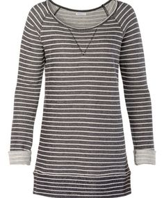 This looks super comfy and love the color gray... although, my mom always does say I should avoid strips... Maybe just for snuggling and lounging around the house?  Looks super cozy!