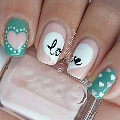 Heart nails. Love. Valentine's day Nail art. Nail design. Polishes.  by newlypolished ESSIE.