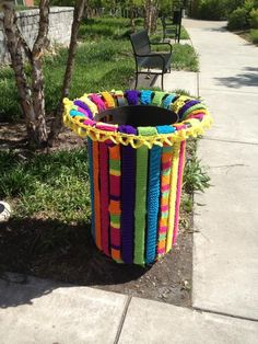 its-tuesday-again:  someone yarn bombed the trash cans outside of the art building
