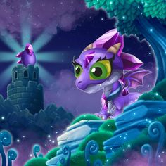 Amethyst Dragon in Child Form with Egg