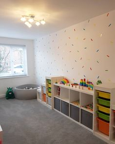 The garage conversion is a great way to keep the kids toys stored away and a whole room for them to play. With thanks to my_persimmon_home for the image Garage Renovation, Garage Interior, Garage Remodel, Daycare Rooms, Home Daycare, Garage Conversion To Family Room, Garage Conversions, Garage Playroom, Ikea Kids Playroom