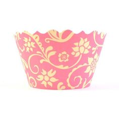 Pink & Yellow Floral Cupcake Wrappers. Set of 12 (one dozen)