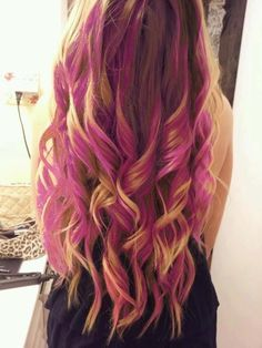 long pink curly blonde hair