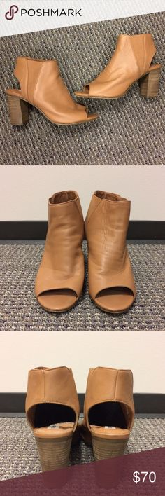 """Steve Madden Nobel Leather Open Toe Bootie Steve Madden Nobel Block Heel Sandal/Bootie in size 8. Color is Cognac with 3.25"""" heels. Elastic goring at sides. Worn a few times. Still in great condition. Fit slightly big because of the open toe. I'm normally an 8.5 and I can wear them. Super comfy. Steve Madden Shoes Ankle Boots & Booties"""