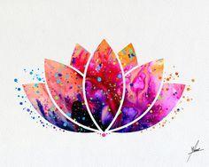Lotus Flower Yoga symbole aquarelle Illustrations par PainterlyDots