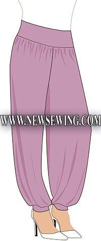 Выкройка брюк в восточном стиле (Шаровары)