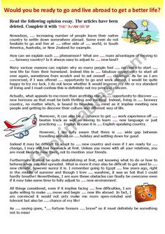 Gr - Opinion Essay + Practice of Articles - Would you be ready to go and live abroad to get a better life? + KEY - ESL worksheet by karagozian Essay Writing Examples, Essay Writing Skills, Writing Strategies, English Writing Skills, Persuasive Writing, Teaching Writing, Teaching English Grammar, English Vocabulary, Use Of Articles