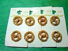 """(8) 13/16"""" STREAMLINE OPENWORK DECOR GOLD METAL SHANK BUTTONS 4-CARD LOT (N920)"""