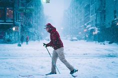 Skiing Down Avenue Photo by Adam Rozanski - 2016 National Geographic Travel Photographer of the Year 2nd Avenue, National Geographic Travel, Travel Photographer, Amazing Photography, New York City, Skiing, Beautiful, Street, Snow