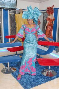 Aqua African women's ethnic brocade attire by New African Designs