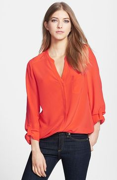 Trouve Silk Blouse Red Fiesta Small