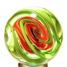 "~ EDDIE SEESE ART GLASS MARBLES 2"" MYSTIQUE TETRISPHERE MARBLE"