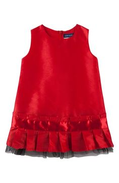 Andy & Evan Sleeveless Taffeta Dress (Baby Girls) She'll shine in the cherry-red taffeta of this darling drop-waist dress, finished with a neatly pleated skirt and a dash of dramatic black tulle. #holiday #Christmas