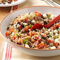 Texas Tabbouleh Recipe- Girls at work made this today in the office, thats how easy it is. So So good and super low cal. Vegetarian Recipes, Cooking Recipes, Healthy Recipes, Tasty Meals, Couscous, Healthy Salads, Healthy Eating, Healthy Food, Yummy Food