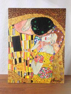 Il Bacio di Klimt, dipinto su ardesia cm18x24