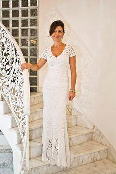 Crochet Dress , custom made  , hand made  , MADE TO ORDER ,crochet  ,  viscose  or  cotton