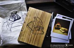 Letterpress Handmade Wooden Book with Polaroid SX-70 Camera Engraving