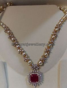 Large south sea pearls and diamonds adorned star model flower clasps combination simple necklace with pretty pendant for kids and adults Emerald Jewelry, Pearl Jewelry, Jewelery, Indian Wedding Jewelry, Bridal Jewelry, Indian Jewelry, Bead Jewellery, Beaded Jewelry, Diamond Jewellery