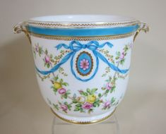 Minton porcelain floral swag Cache pot with shell handles (c. 1860 England)