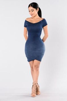 - Available in Dark Wash - Denim - Off the Shoulder - Knee Length - Fitted - Cotton Polyester Spandex Sexy Dresses, Cute Dresses, Short Dresses, Fashion Poses, Fashion Outfits, Womens Fashion, Jeans Fashion, Casual Outfits, Cute Outfits