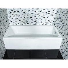 American Standard - Mainstream Acrylic Left Hand Bathtub - - Home Depot Canada Beach Bathrooms, Bathroom Kids, Downstairs Bathroom, Bathroom Renos, Small Bathroom, Home Depot, Modern Shower, Kitchen Cabinet Organization, Cabinet Space