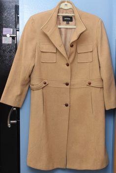 Express Camel Wool Boyfriend Style Long Winter Coat Size 11/12 #Express #BasicCoat